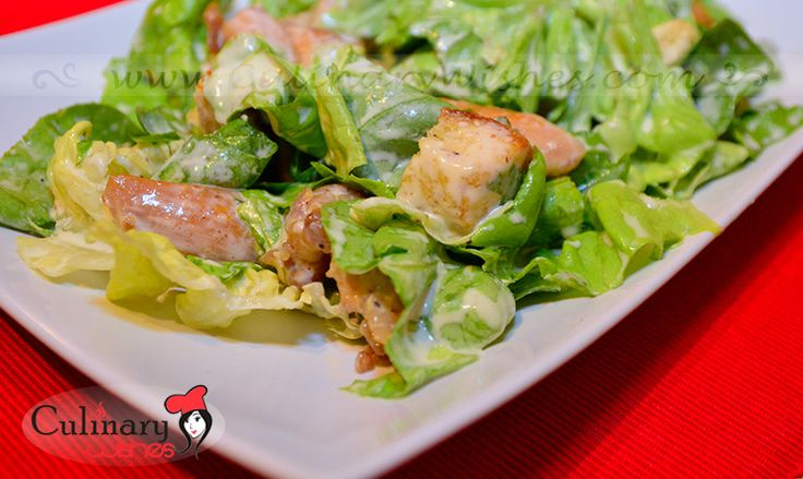 Caesar salad with chicken on http://www.culinarywishes.com