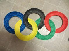 Paper plate olympic rings for a bulletin board