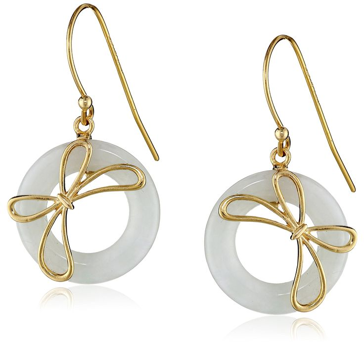 18k Yellow Gold Plated Sterling Silver Jade Circle and Bow Dangle Earrings: