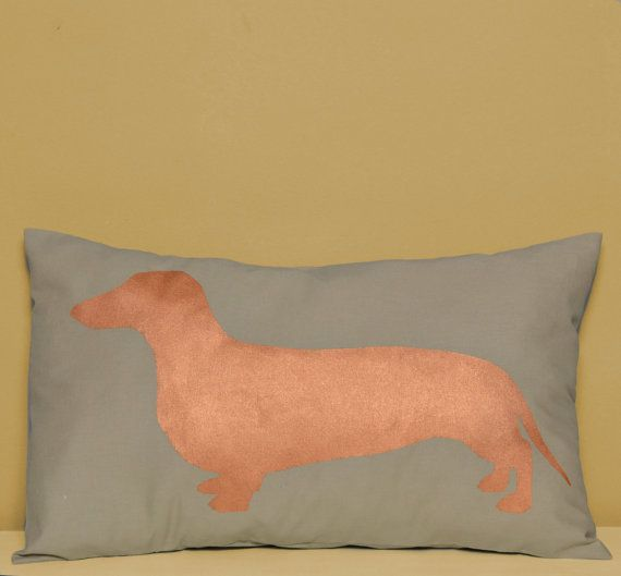 Handmade Dachshund - sausage dog pillow cover. Taupe grey and copper - dog pillow - decorative pillow - sofa pillow - dog cushion - silhouette
