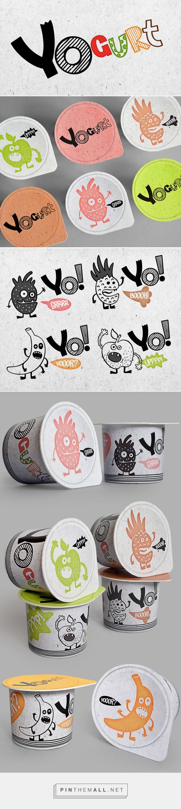 Illustration, graphic design and packaging for YOgurt on Behance by  Anton Danilov Moscow, Russia curated by Packaging Diva PD. The cutest yogurt packaging for the smile file : )
