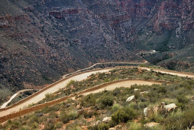 Winding down the Swartberg Pass between Oudtshoorn and Prince Albert, Western Cape, South Africa
