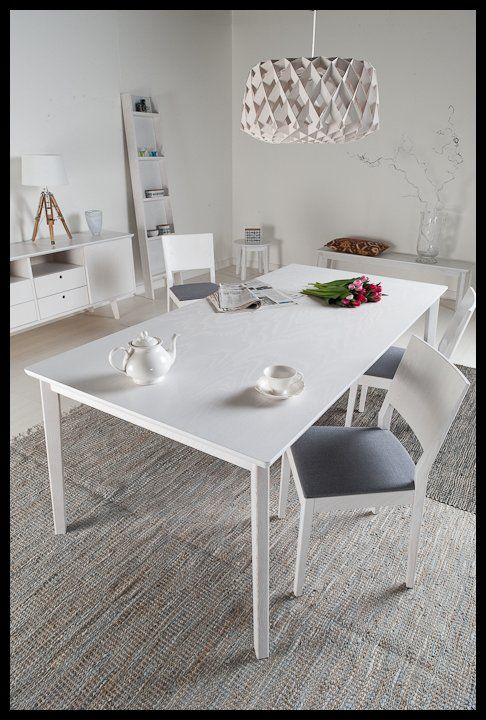 Complete 'Sinulle' product line with table, chairs, dresser, shelf and bench. Designed by Erkki Tsupukka, Junet.
