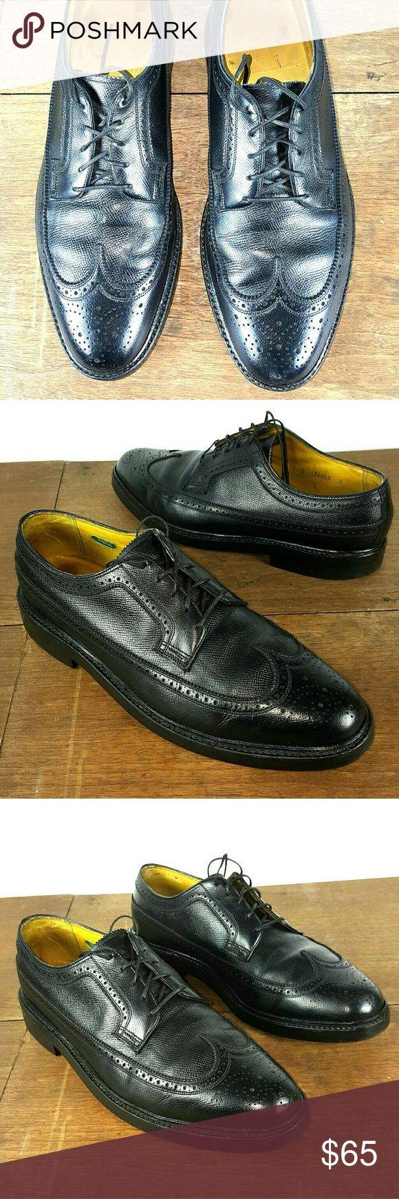 Nice Vintage Florsheim Imperial Wingtip, Size 10D Nice Vintage Florsheim Imperial Wingtip Men's Black Leather Oxford in clean and good condition,  size 10D. Thanks for Your interest, questions and offers are welcome. Florsheim Shoes Oxfords & Derbys