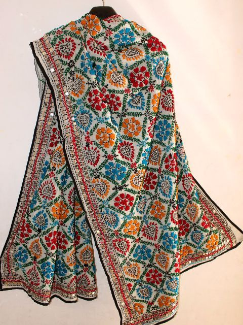 White georgette dupatta with multicolor threadwork fulkari embroidery and sequin work from Punjab