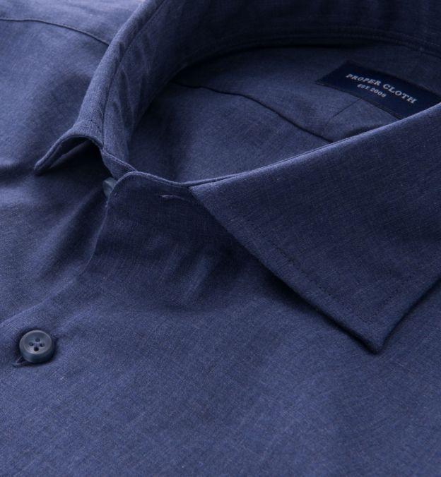 Bleecker Navy Melange Tailor Made Shirt by Proper Cloth