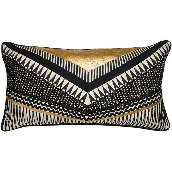 Gatsby Black and Gold Pillow design by Villa Home found on Polyvore