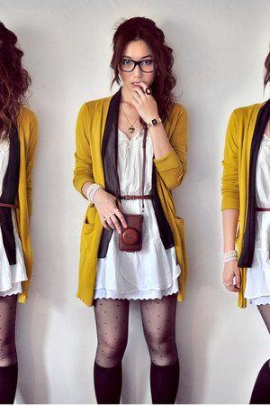 dark brown bag - white dress - black socks - mustard cardigan