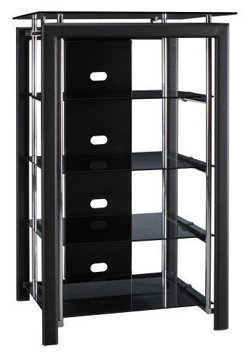 Midnight Media Cabinet Home Theater Audio Racks Stereo Tower Storage Black Cases