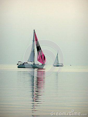 Two boats on Lake Balaton