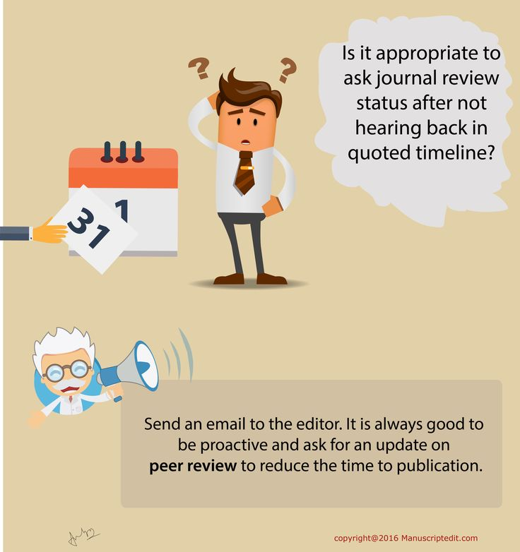 #‎Manuscriptedit‬ @ Is it appropriate to ask ‪#‎journal‬ review status after not hearing back in quoted timeline?  Send an email to the editor. It is always good to be proactive and ask for an update on ‪#‎peerreview‬ to reduce the time to ‪#‎publication‬.  #Manuscriptedit #publication: http://bit.ly/1NvtPEX