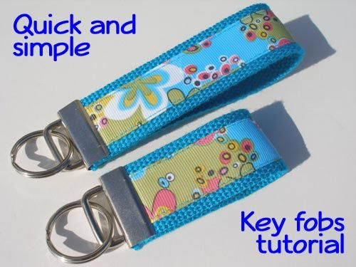 Quick, simple ribbon and webbing sewn key fobs tutorial. Quick video shows how easy these are to make. Great for gifts for any occasions. Key fob supplies.