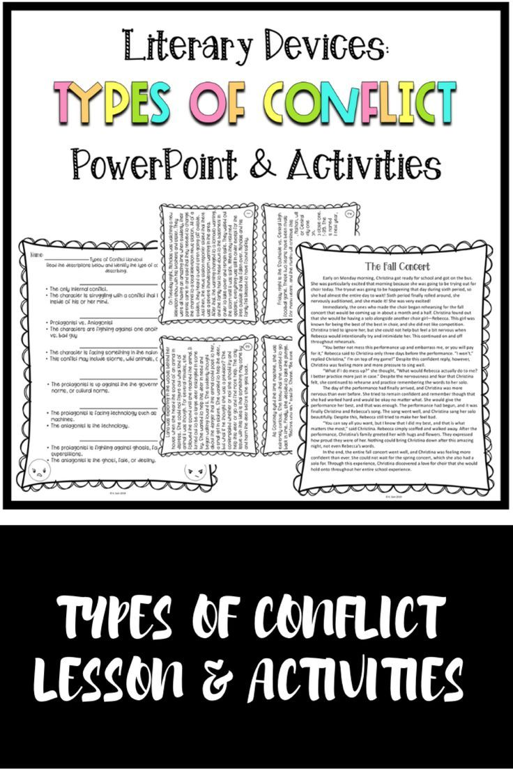 Middle School Types Of Conflict Lesson And Activities Reading Worksheets Types Of Conflict Complex Sentences Worksheets