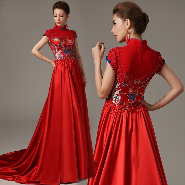 Mandarin collar red a line trailing silk stain chinese for Asian red wedding dresses