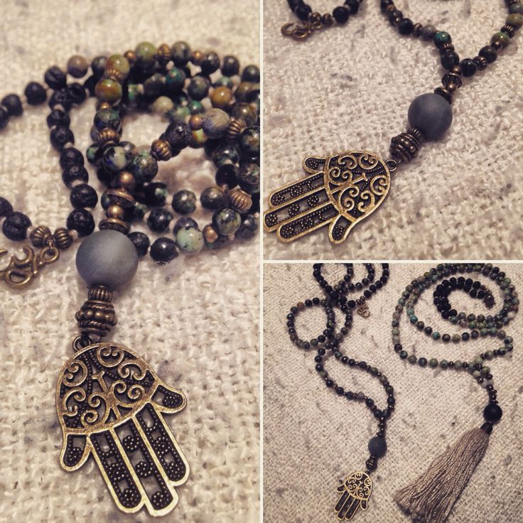 African turquise and Volcano lava malabead necklace