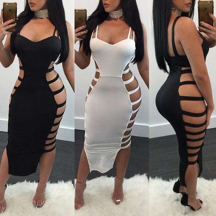 Stylish Women Side Hollow Bandage Bodycon Dress