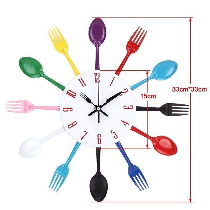 Kitchen Spoon Fork Wall Clock Mirror Wall