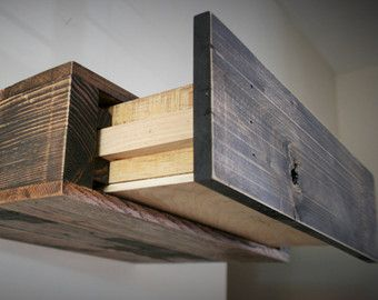 Reclaimed Pallet Wood Floating Shelf With Hidden Drawer TV Console  Entertainment Stand Wood Barn Rustic Vintage Shelves Shelving Storage