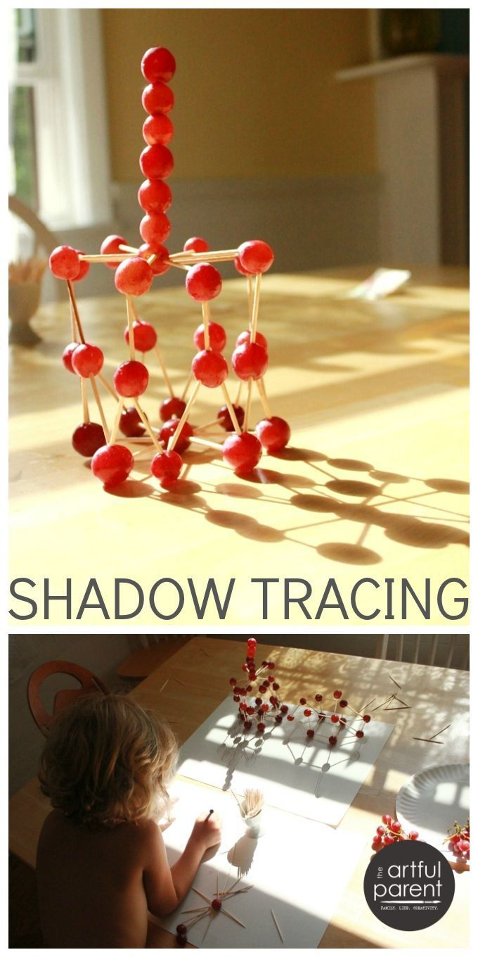 Shadow tracing is such a simple and engaging art activity for kids! Here we combined (edible!) grape sculptures with a shadow tracing art activity. So fun!