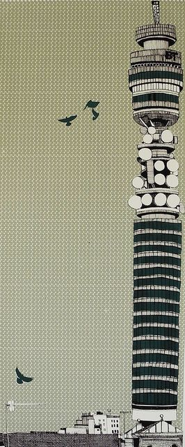BT Tower by Clare Halifax, Printed on graph paper?