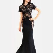 Hand beaded accents, sheer from top to hips sweep train feminine gown