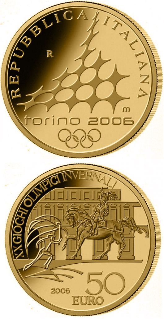 N♡T.50 euro: XX. Olympic Winter Games 2006 in Turin - Equestrian statue Emanuele di Savoia.Country:Italy  Mintage year:2005 Face value:50 euro Diameter:28.00 mm Weight:16.12 g Alloy:Gold Quality:Proof Mintage:6,000 pc proof