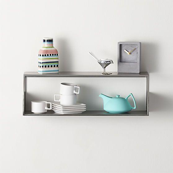 window wall mounted shelf in wall mounted storage   CB2 display behind the cashwrap