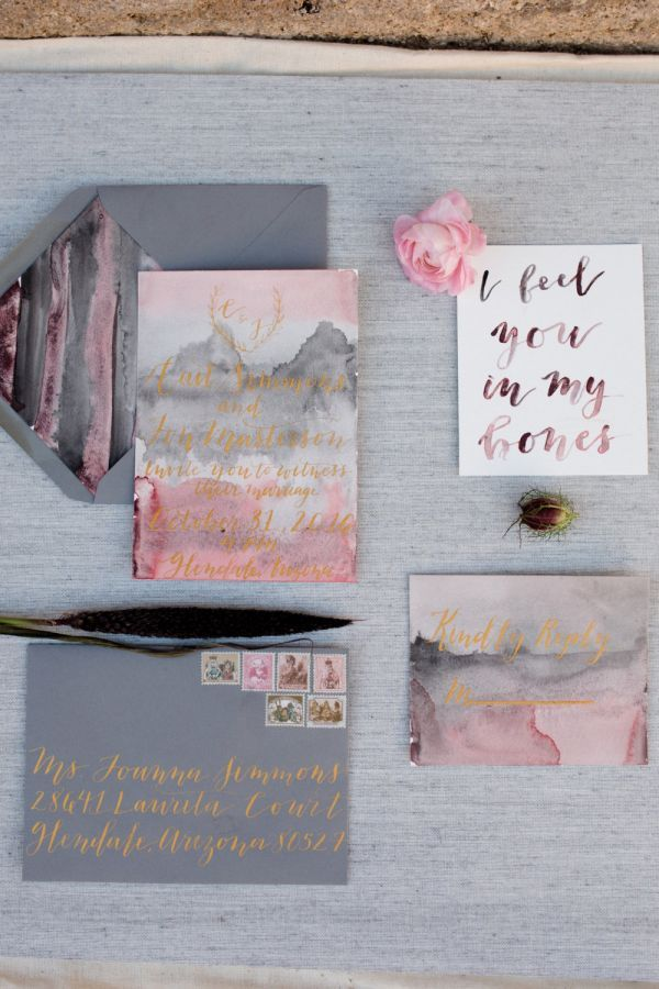 955 best wedding invitations images on pinterest stationery organically luxe this handmade invitation suite mixes calligrapher nikki daskalakis modern lettering with watercolor stopboris Choice Image
