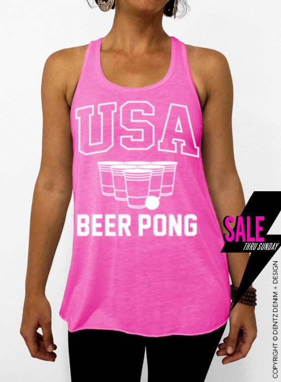 USA Beer Pong - Pink Flowy Tank Top #tank #top #summer #tee #party #holidays #4thofjuly #fourthofjuly #memorialday #laborday #picnic #cookout #bbq #family #friends #usa #beerpong #flipcup #frat #brothers #sisters #fraternity #sorority #big #little #allstate #champs #best #college