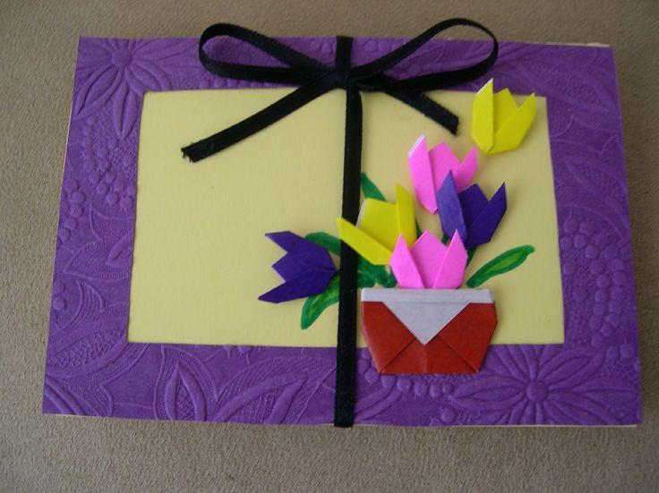 Оригами открытка маме, чашечка