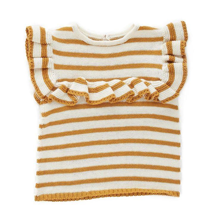 Frou Frou Top-White/Ochre Stripes