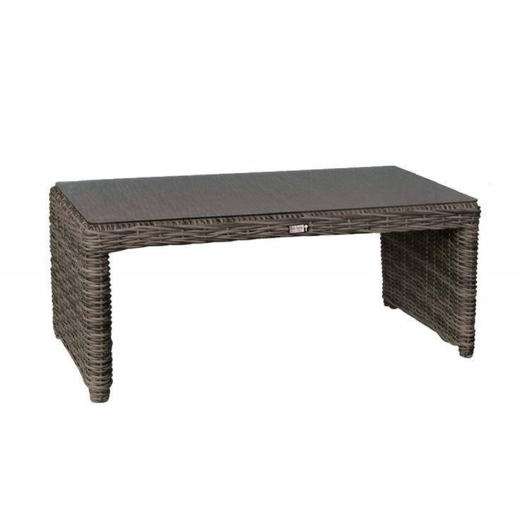 Montana garden coffee table aluminum wicker grey brown 100x50x45