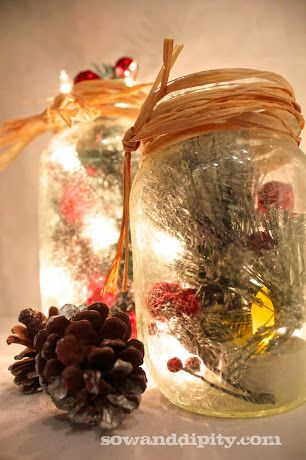 Love these! Mason jar decor for #Christmas from @Sow & Dipity