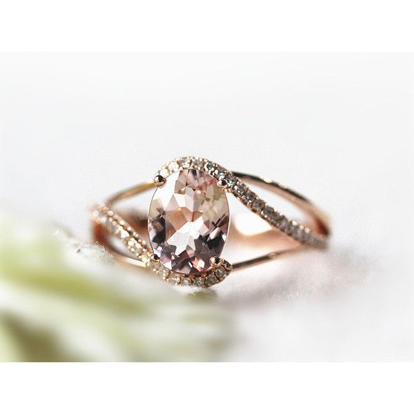 7x9mm Oval Morganite Diamond Wedding Ring in 14K Solid Gold,Splite... ($539) ❤ liked on Polyvore
