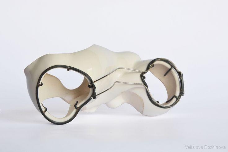 Velislava Bozhinova - Brooch, 11x5,5x4,5 cm, ceramic, silver, inox
