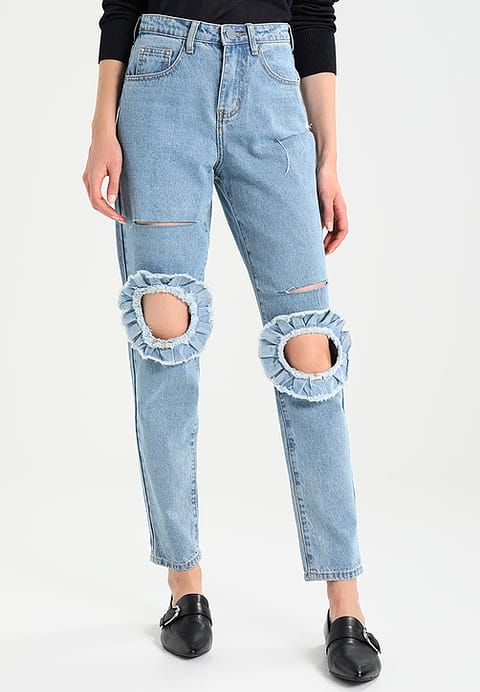 Lost Ink MOM WITH CUT OUT KNEE FRILL - Jeans Relaxed Fit - mid denim - Zalando.dk