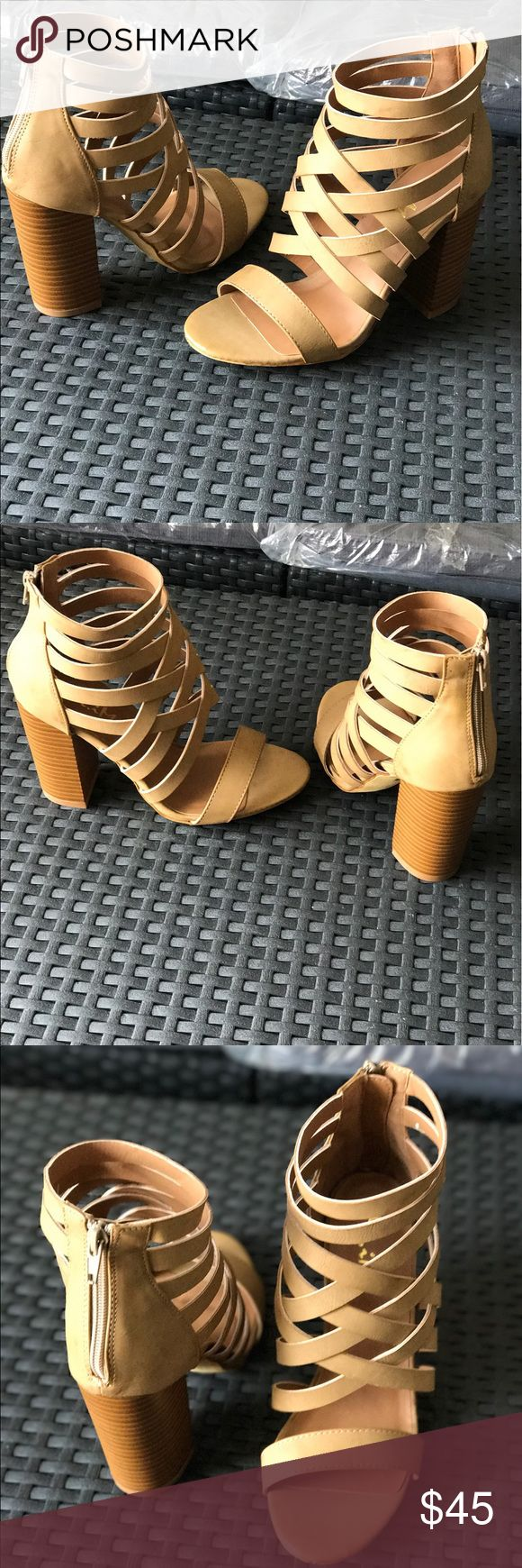 Ladies high top high chunky heels strappy sandals Very nice looking sandals, well made, high top with cross straps, 4 inches chunky heels, man made materials, back zipper, true to size medium fit. Light Khaki color. Brand new in box. NO TRADES boutique Shoes Heels