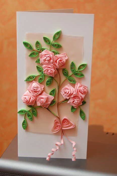 Открытка с розами из квиллинга своими руками, смешные имена