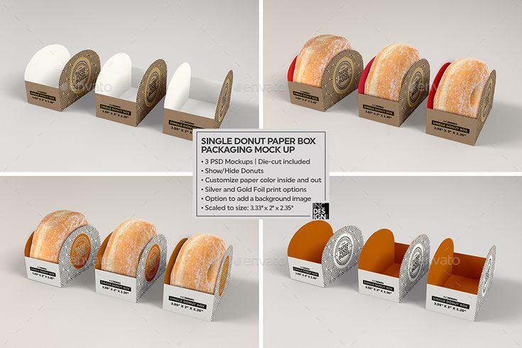 Download Single Donut Box Packaging Mockup | Food box packaging ...