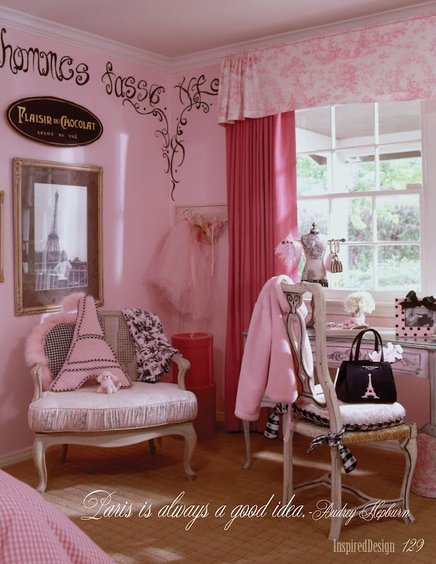 Little Girl Paris Bedroom: note the toile valance which I can create for you by your calling 912-385-9078.