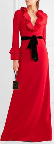 Belted Red Ruffled Maxi Dress