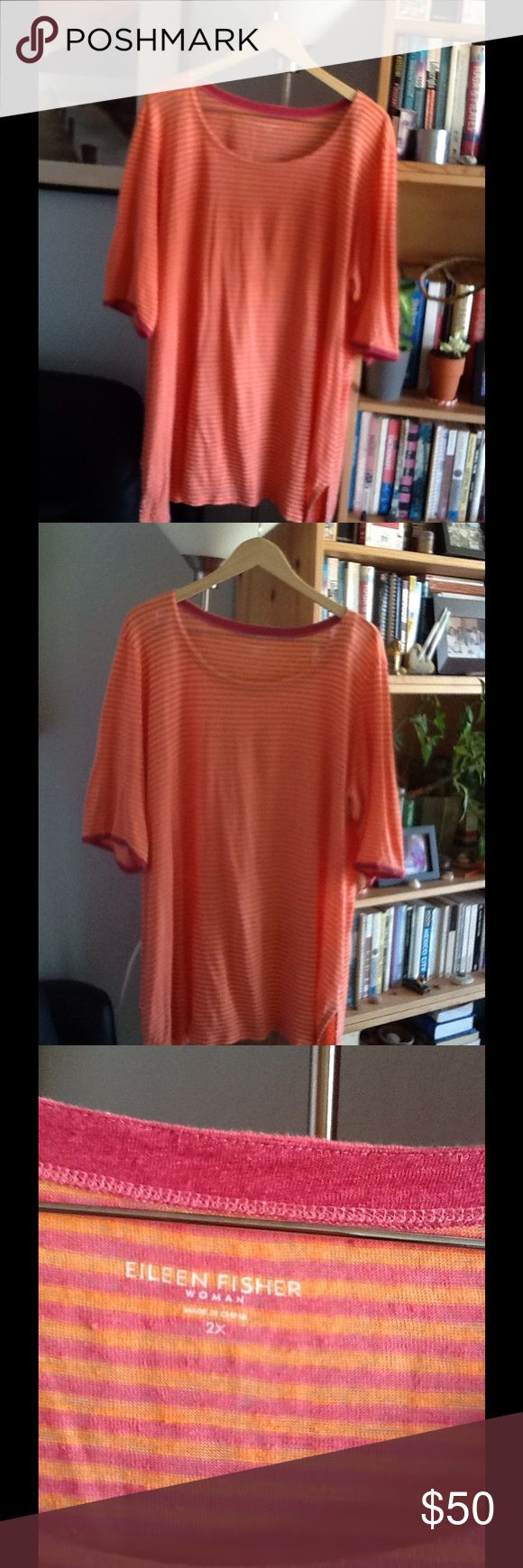 FANTASTIC EILEEN FISHER LINEN LONG TUNIC TOP This soft and wonderfully comfortable great looking top is sooo!! perfect for summer. Wear it with whites, beiges, jeans or leggings and it's always perfect. Eileen Fisher Tops Tunics