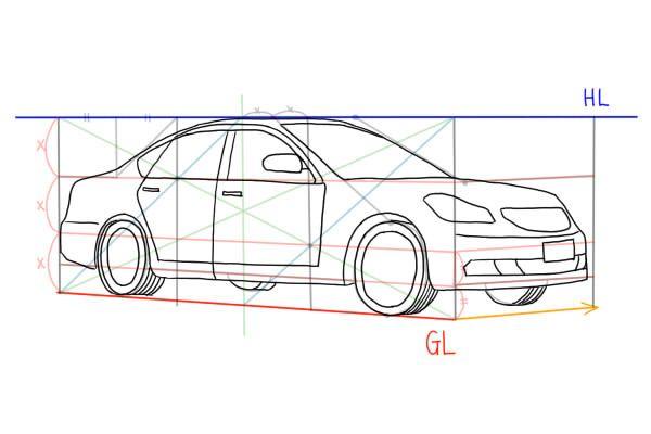 自動車 セダン ワゴン車 の描き方 絵師ノート 2020 車の描き方 ワゴン車 描き方