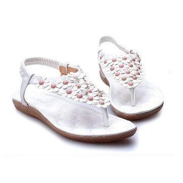 Women New Flowers Lovely Summer Comfortable Beach Outdoor Flat Sandals Shoes - US$15.33