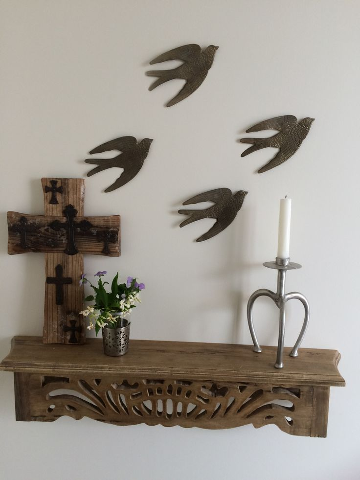 My entrance way using cut down table as shelf with tin swallows from Madden Rouge.