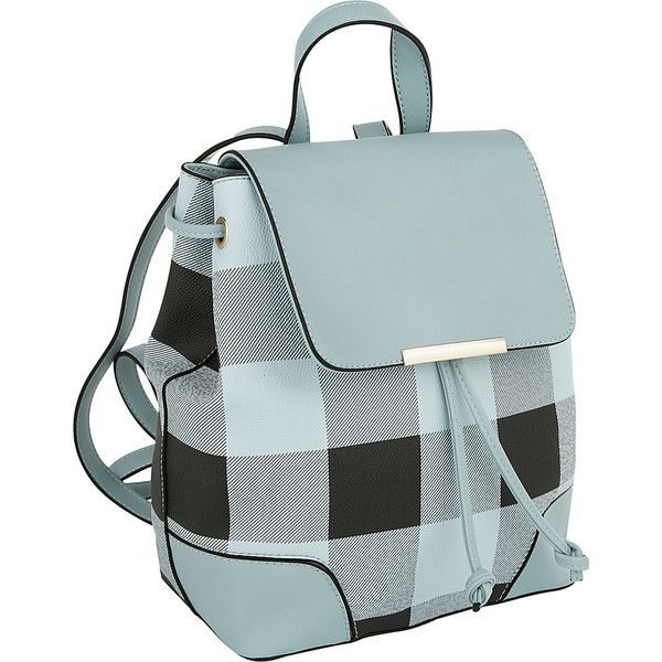 MKF Collection by Mia K. Farrow Nashla Plaid Backpack - Light Blue -... ($36) ❤ liked on Polyvore featuring bags, backpacks, blue, string backpack, plaid backpack, vegan bags, pocket backpack and faux-leather backpack