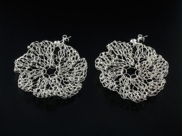 Sterling silver Floral Earrings by jewellery designer Tytti Lindström