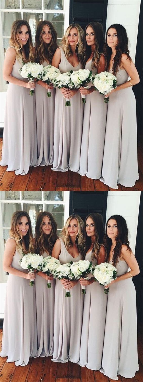 elegant gray chiffon scoop bridesmaid dress, fashion a-line scoop grey chiffon wedding party dress