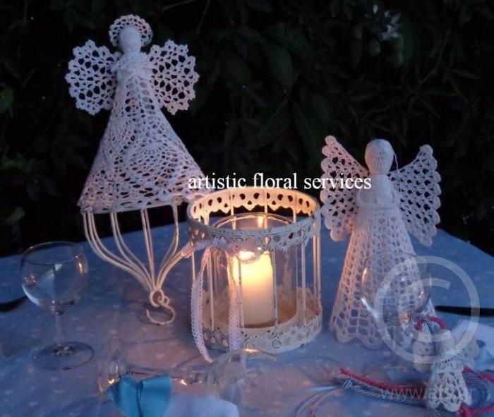 Βραδυνη διακοσμηση τραπεζιου με θεμα Αγγελους