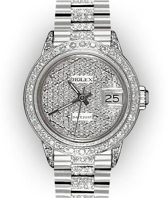 Ladies Pave Rolex White Gold Super President Watch